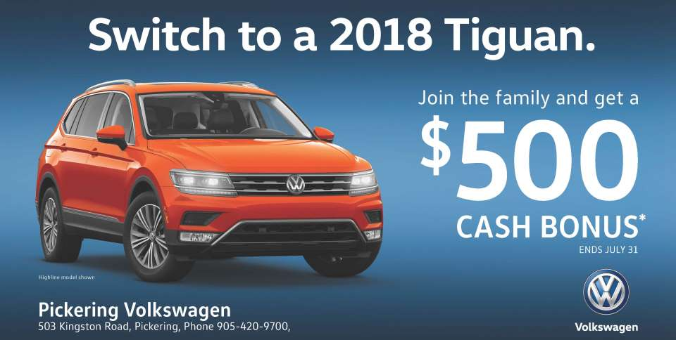 Pickering Volkswagen, 2018 Volkswagen Tiguan, Volkswagen Tiguan 4Motion, Tiguan Conquest Cash, $500 Cash Incentive, Pickering Volkswagen Dealers, Ajax Volkswagen Dealers, Scarborough Volkswagen Dealers, Toronto Volkswagen Dealers, Volkswagen Dealerships, Volkswagen Sales Department, 905-420-9700, sales@pvw.com