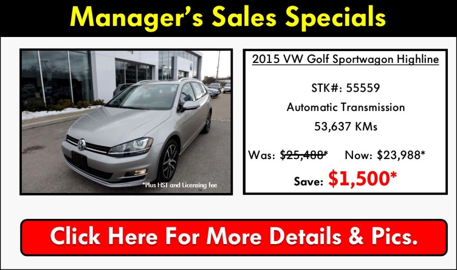 Pickering Volkswagen, Certified Pre-Owned Specials, Volkswagen Used Car Specials, Volkswagen Pre-Owned, Volkswagen Sales Specials, Volkswagen Manager Sales Specials, 2015 Volkswagen Golf Sportwagon, Volkswagen Golf Sportwagon, 905-420-9700, sales@pvw.com,