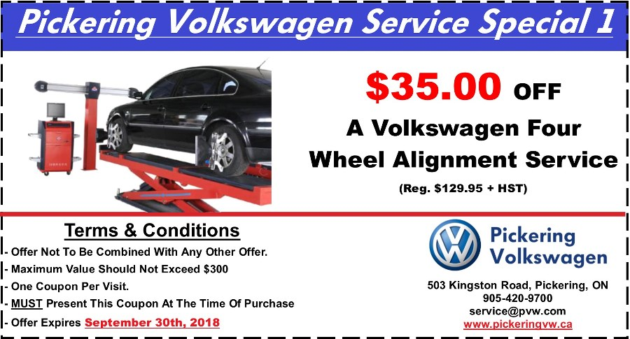Pickering Volkswagen, Volkswagen Service Department, Volkswagen Repairs, Volkswagen Maintenance, Volkswagen Wheel Alignment, Four Wheel Alignment, Volkswagen Alignment Service, $35.00 OFF Wheel Alignment, Pickering Automotive Service,