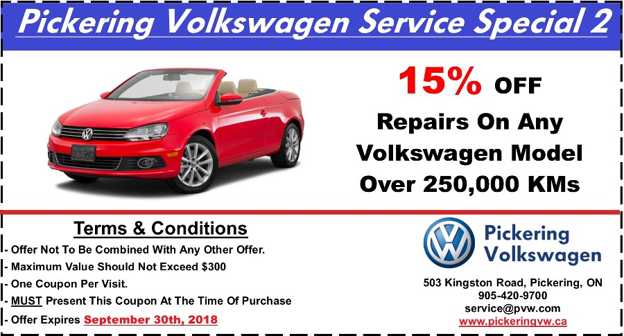 Pickering Volkswagen, Volkswagen Service Department, Volkswagen Repairs, Volkswagen Maintenance, 15% OFF Volkswagen Repairs, 250000KM Service Special, Pickering Automotive Service,