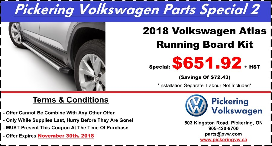 Pickering Volkswagen, Volkswagen Parts Department, Volkswagen Accessories, Volkswagen Boutique Items, Volkswagen Gifts, Volkswagen Collection Items, Volkswagen Protection Products, 2018 Volkswagen Atlas, Atlas Running Boards, Atlas Side Steps, Volkswagen Running Boards, Pickering Volkswagen Parts Centre, Pickering Volkswagen Accessory Centre, 905-420-9700, parts@pvw.com