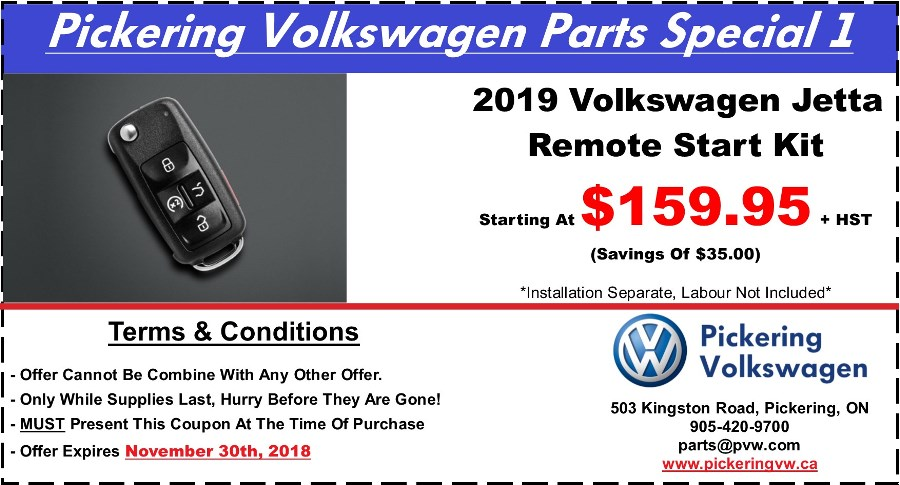 Pickering Volkswagen, Volkswagen Parts Department, Volkswagen Accessories, Volkswagen Boutique Items, Volkswagen Gifts, Volkswagen Collection Items, Volkswagen Protection Products, 2019 Volkswagen Jetta, Jetta Remote Starter, Volkswagen Remote Starter Kit, Pickering Volkswagen Parts Centre, Pickering Volkswagen Accessory Centre, 905-420-9700, parts@pvw.com