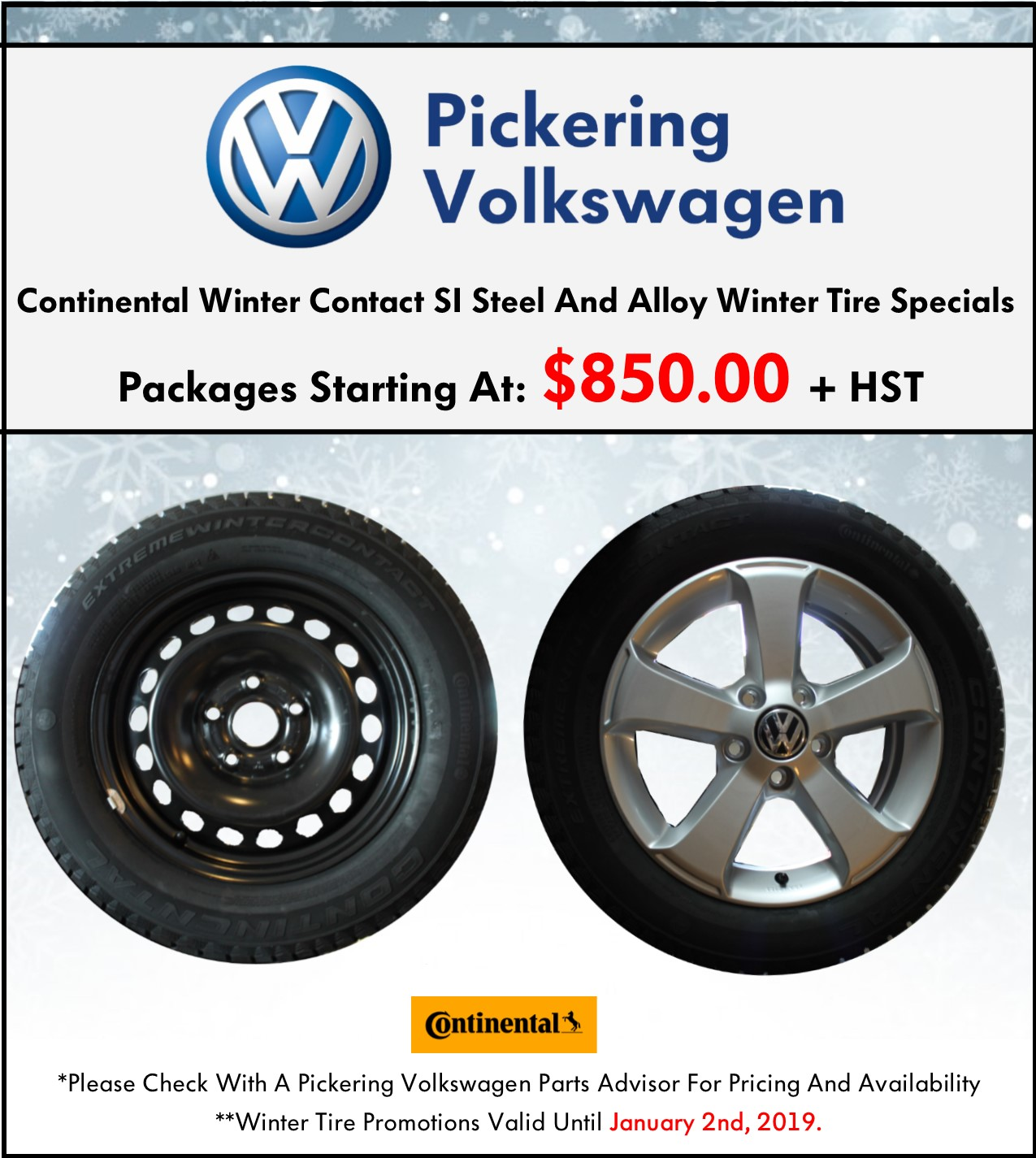 Pickering Volkswagen, Volkswagen Parts Specials, Volkswagen Winter Tires, Volkswagen Snow Tires, Volkswagen Continental Tires, Continental Winter Tires, Volkswagen Winter Season, Steel Winter Tires, Alloy Winter Tires, Volkswagen Accessories, Volkswagen Parts Department, Volkswagen Parts Pickering, 905-420-9700, parts@pvw.com